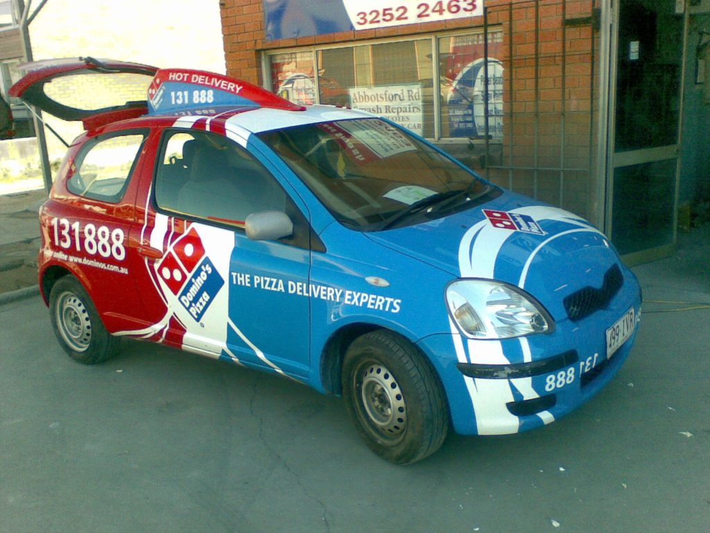 Domino's Pizza Car Vinyl Wrapping Full Wrap Brisbane