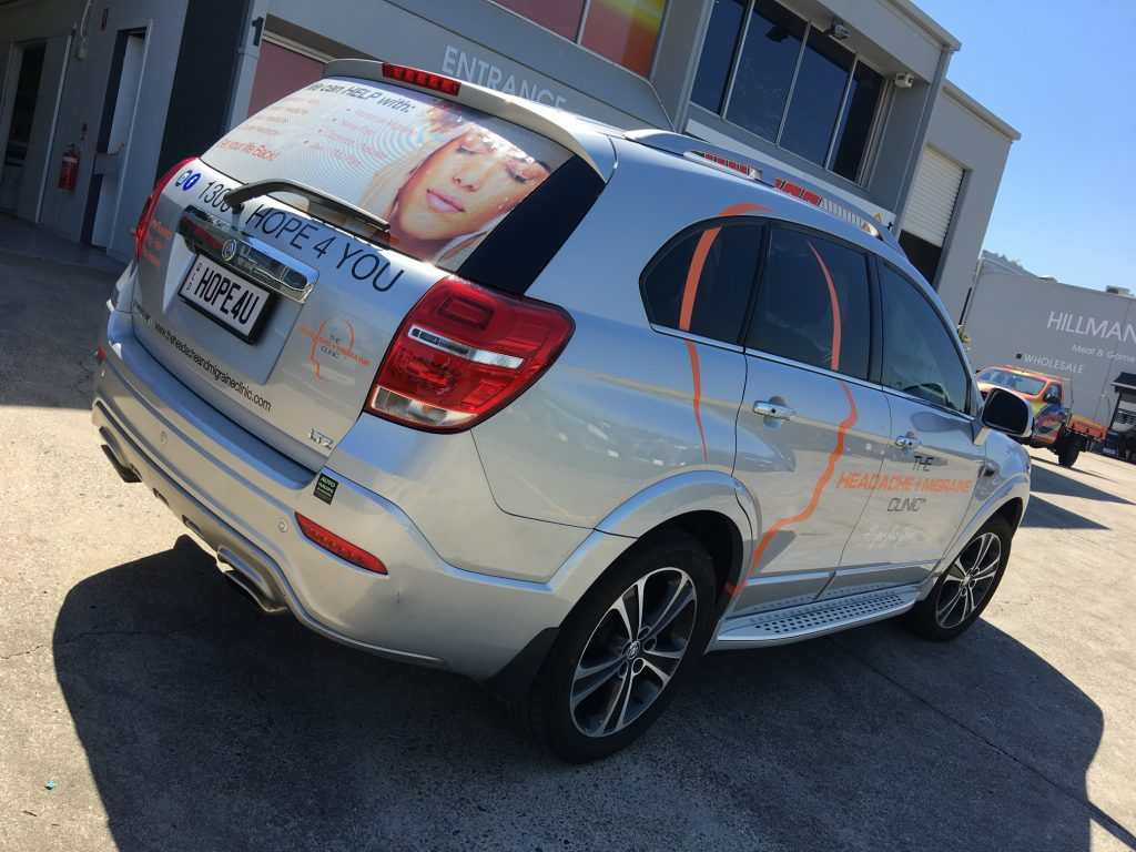 Perforated Car Window Film and Side Decals, See through Brisbane Ipswich Queensland