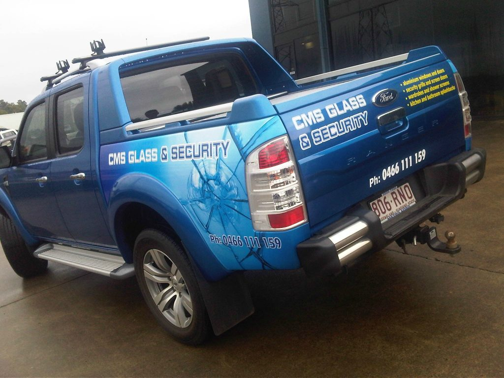 Ute Signage , Part Wrap on a Blue Ford Ranger