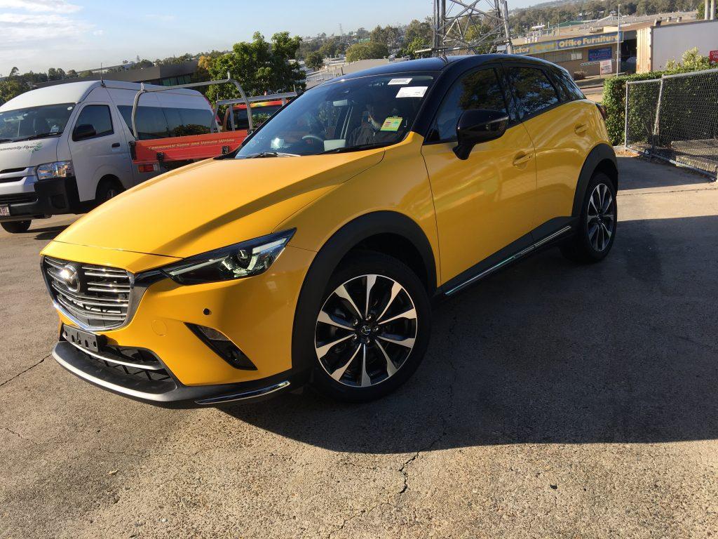 Colour Change Full Vinyl Wrap Yellow Mazda Brisbane